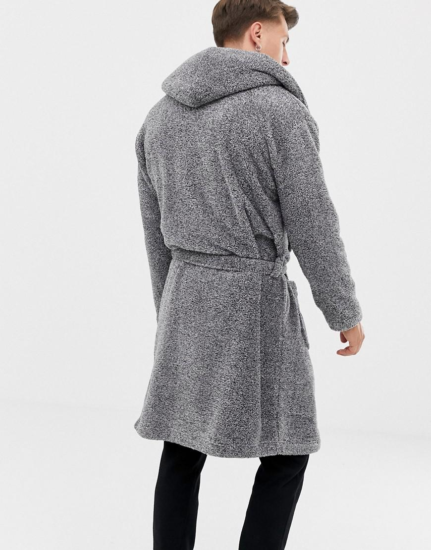 Lyst - ASOS Hooded Robe In Fluffy Gray in Gray for Men 3d140aa40