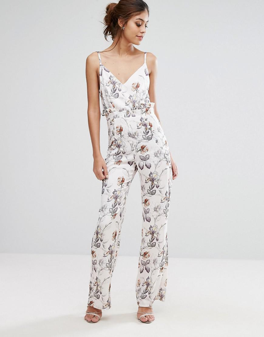 Lyst Hope And Ivy Hope Amp Ivy Printed Jumpsuit With Frill