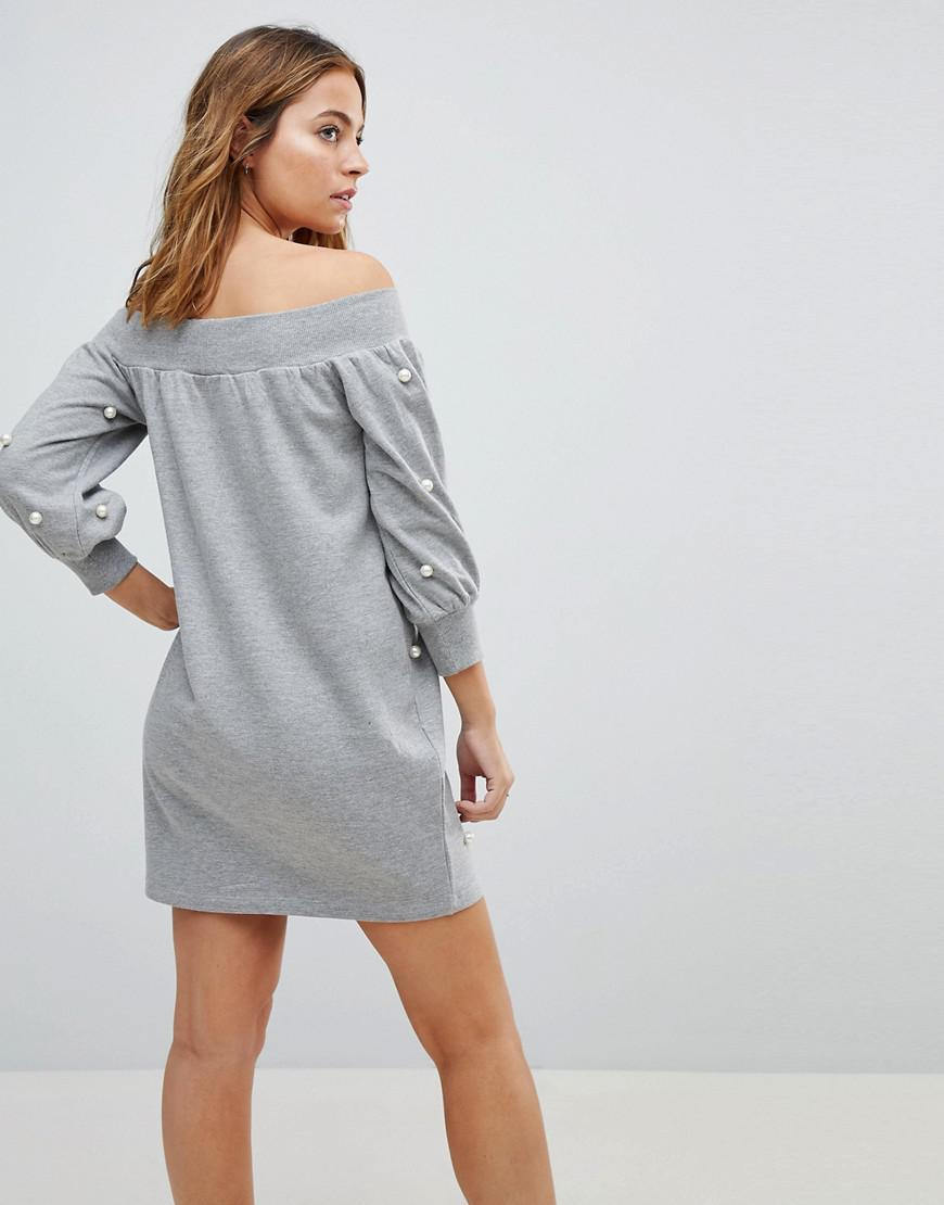b16044b99bbc9 Lyst - ASOS Off Shoulder Mini Sweat Dress With Pearl Details in Gray
