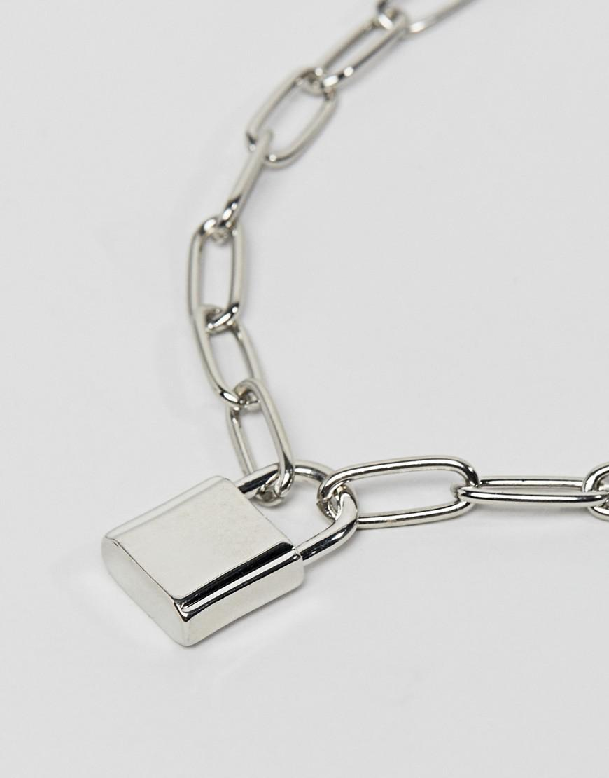 54555d8b0cdc Lyst - ASOS Necklace With Hardware Chain And Padlock In Silver in Metallic