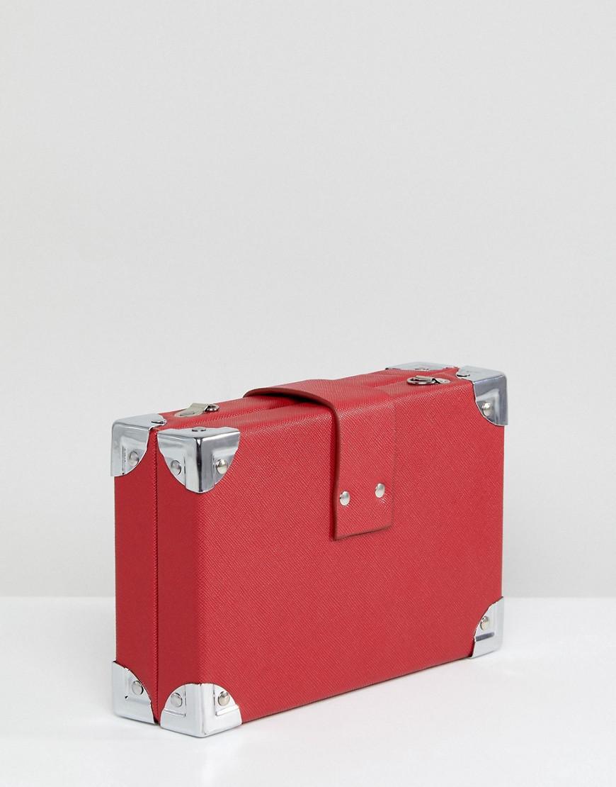 Stradivarius Denim Box Cross Body Bag in Red