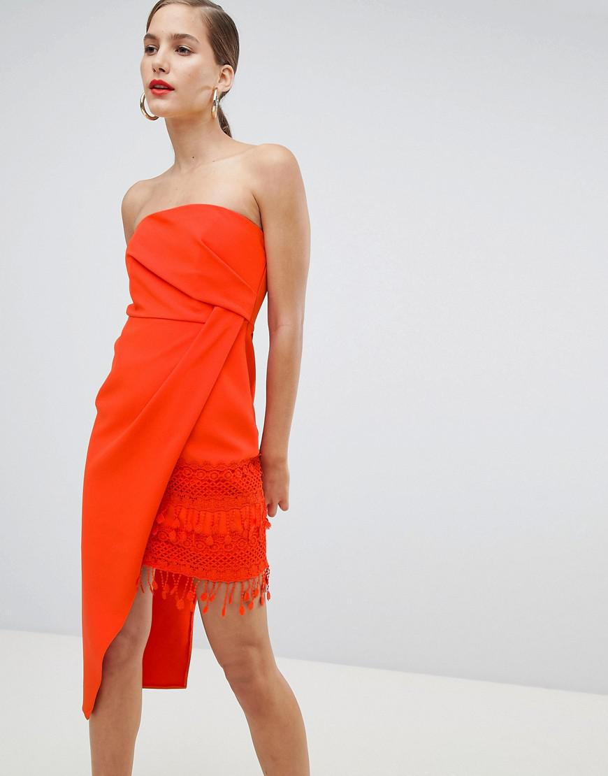 Womens Petite Orange asymmetric tassel bodycon dress River Island hcSw8Dm