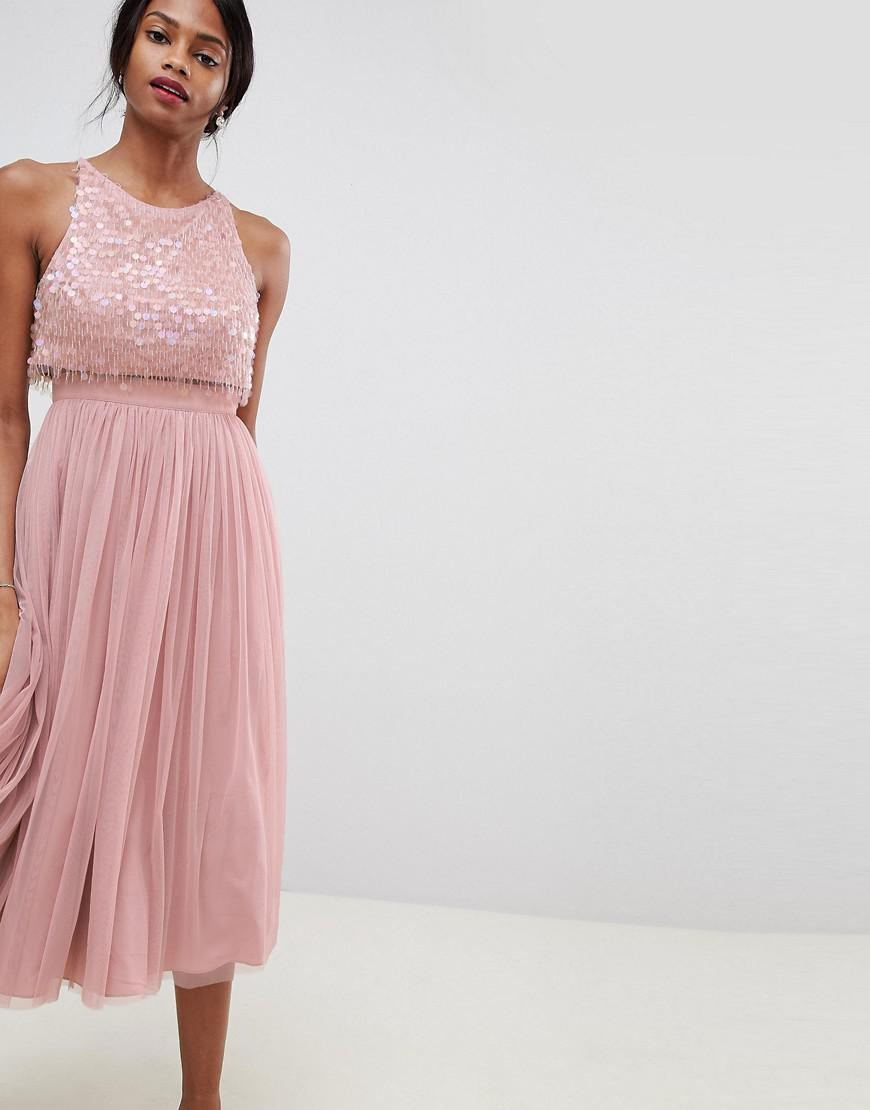 cdc0d9ee23a8 ASOS Embellished Droplet Midi Dress in Pink - Lyst