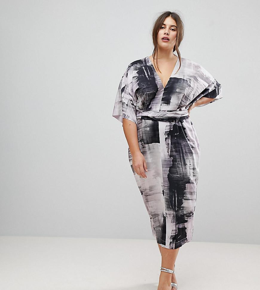 Lyst Asos Kimono Dress In Abstract Print