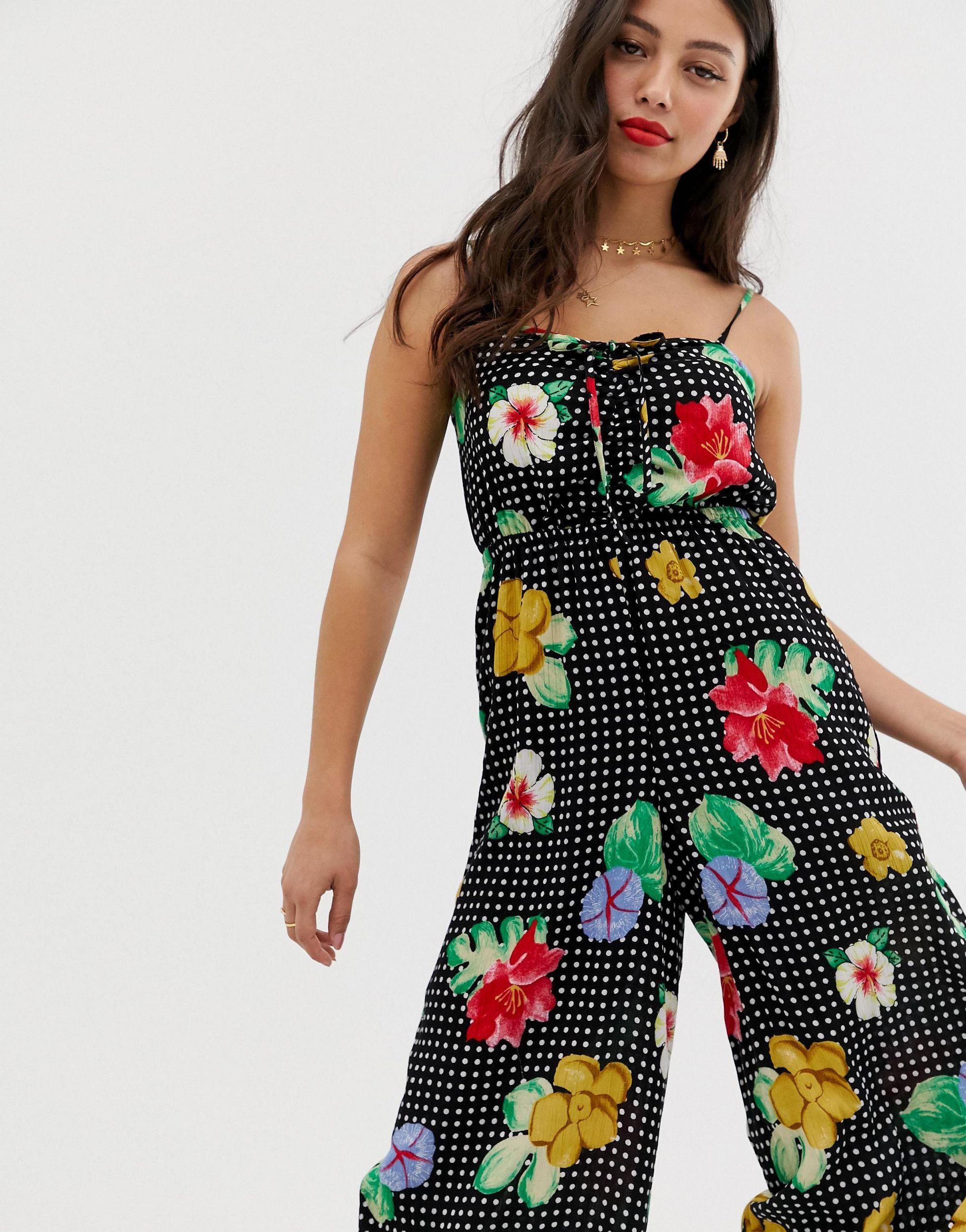 ASOS DESIGN Petite - Combinaison style caraco avec corsage froncé et imprimé floral Synthétique ASOS