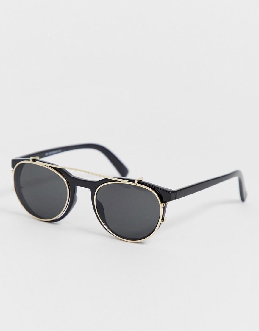 bce8fa92e6 Gafas de sol negras con lentes de clip de New Look de hombre de ...