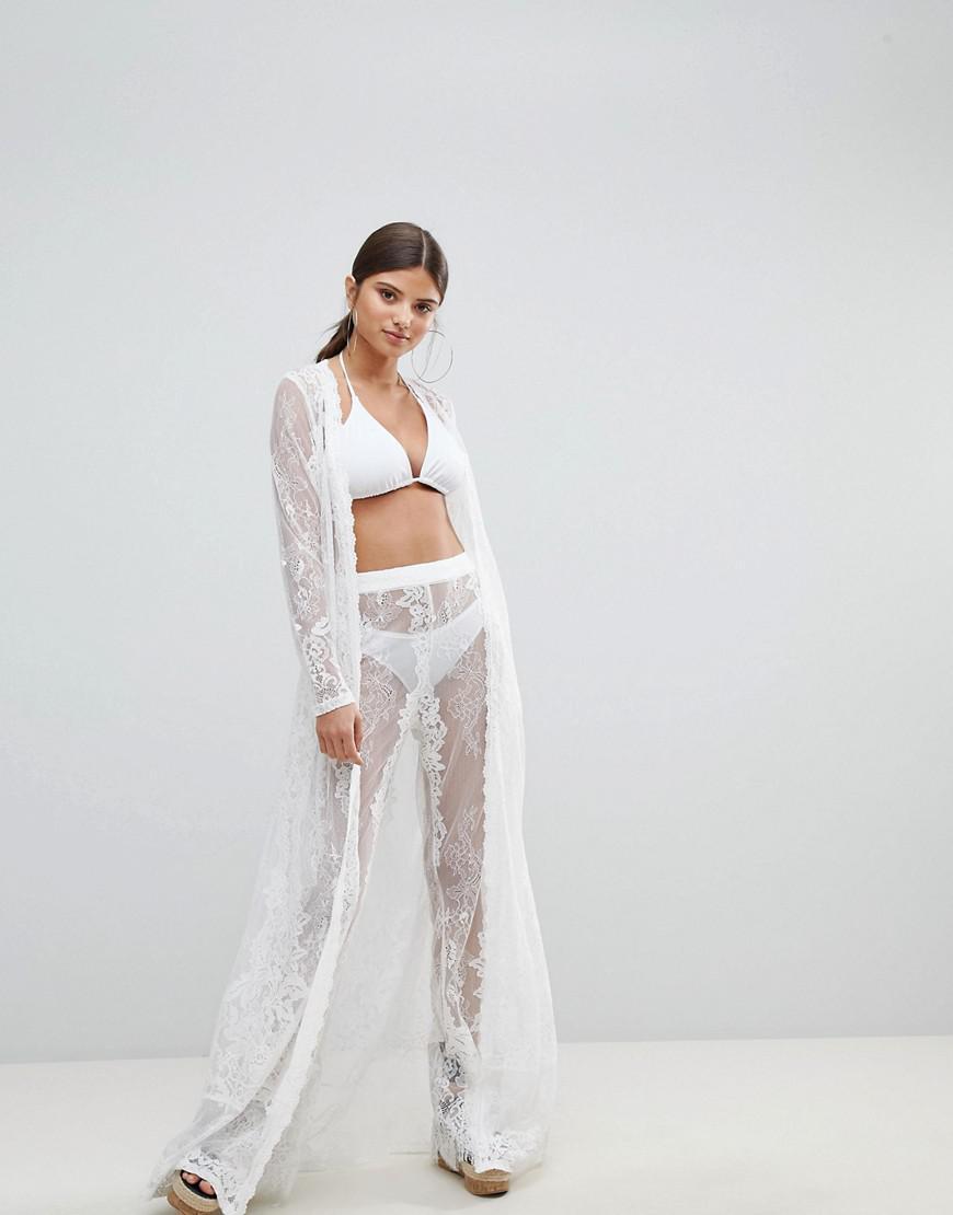 ebc41a35e3 Missguided Premium Lace Beach Kimono in White - Lyst