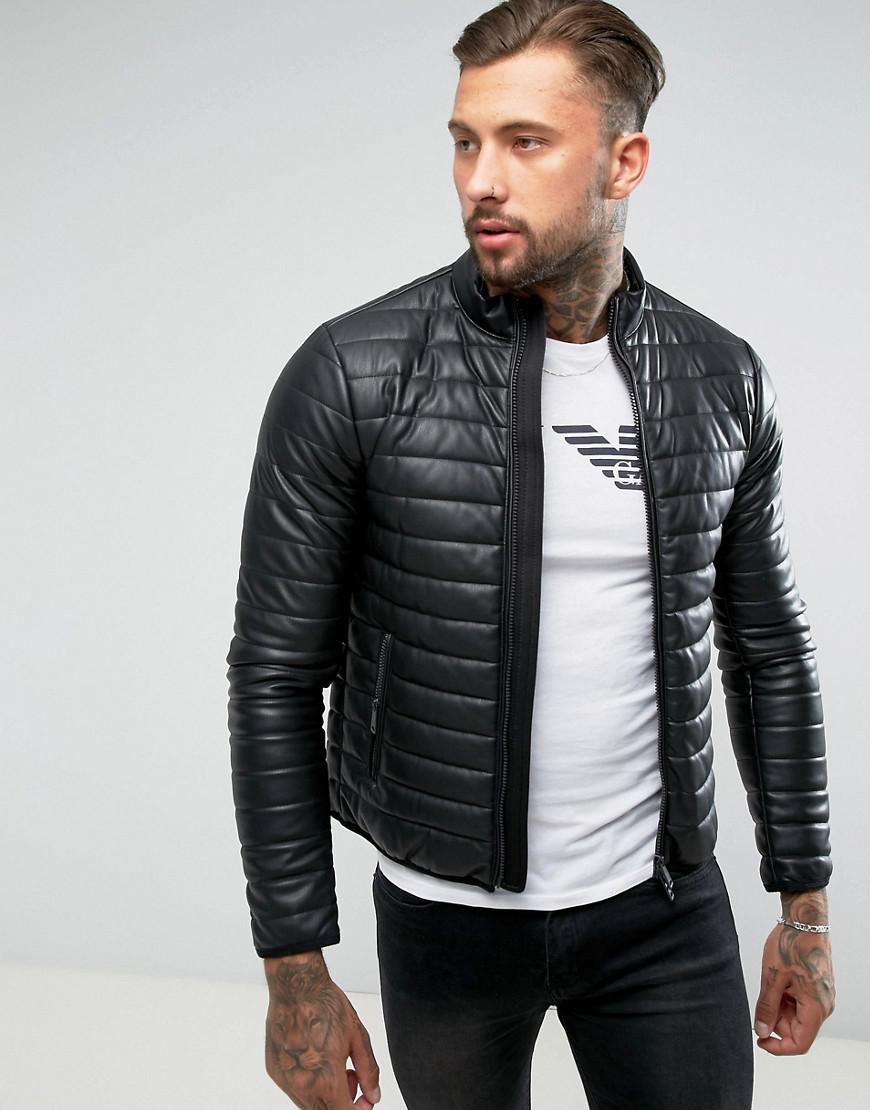 Armani Jeans Padded Faux Leather Biker Jacket Black In
