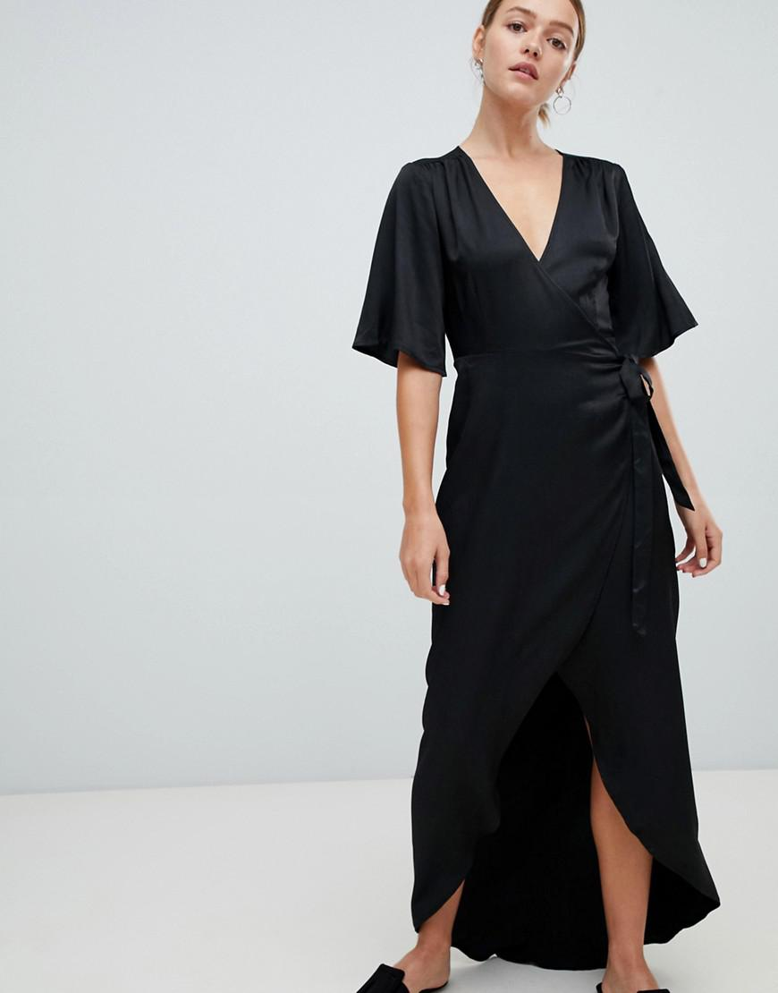 aed3e09fc9d Minimum Moves By Flutter Sleeve Maxi Wrap Dress in Black - Lyst