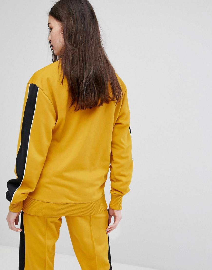 yellow tracksuit with black stripe off 71% -