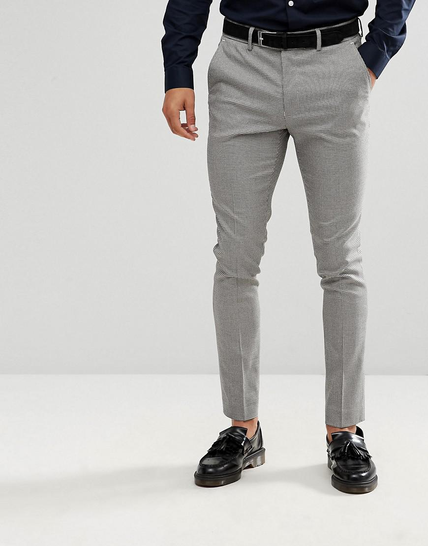 Skinny Fit Suit Trousers In Grey Houndstooth - Black pattern New Look E1epLVTWho