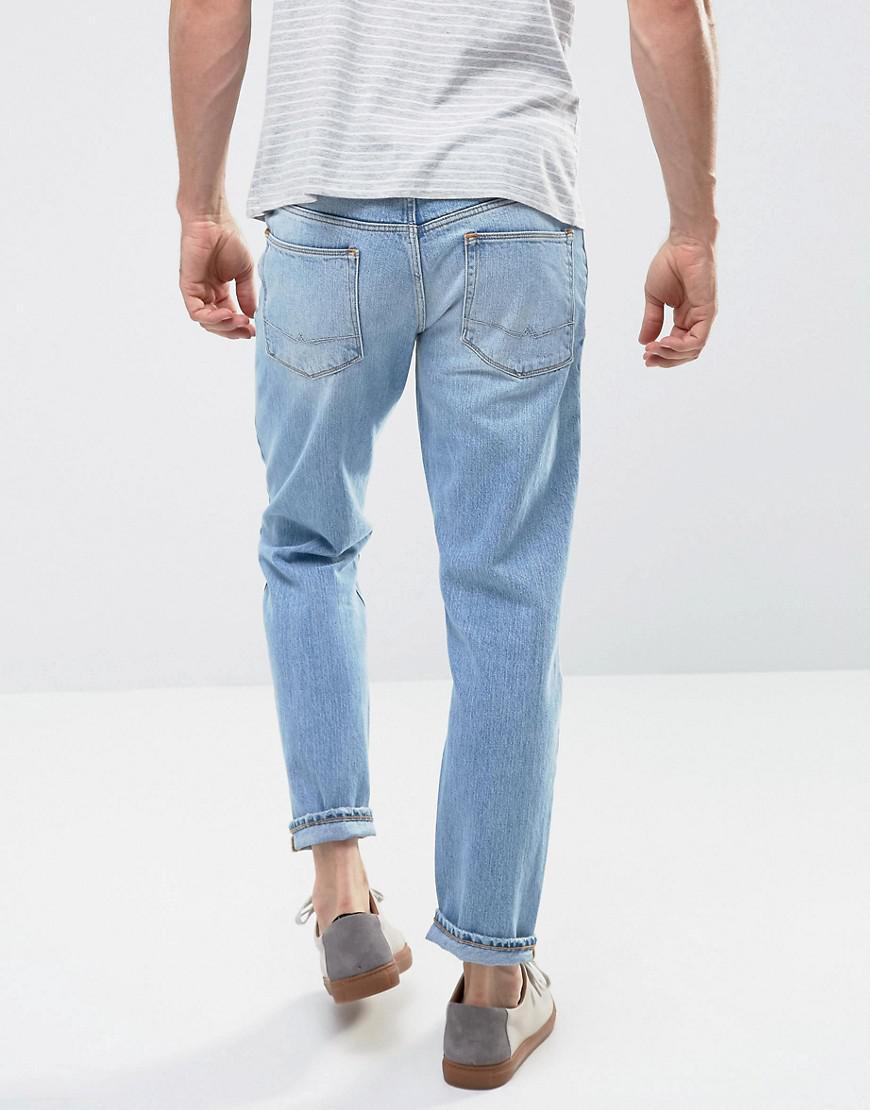 ASOS Recycled Denim Slim Jeans In Vintage Light Wash Blue for Men