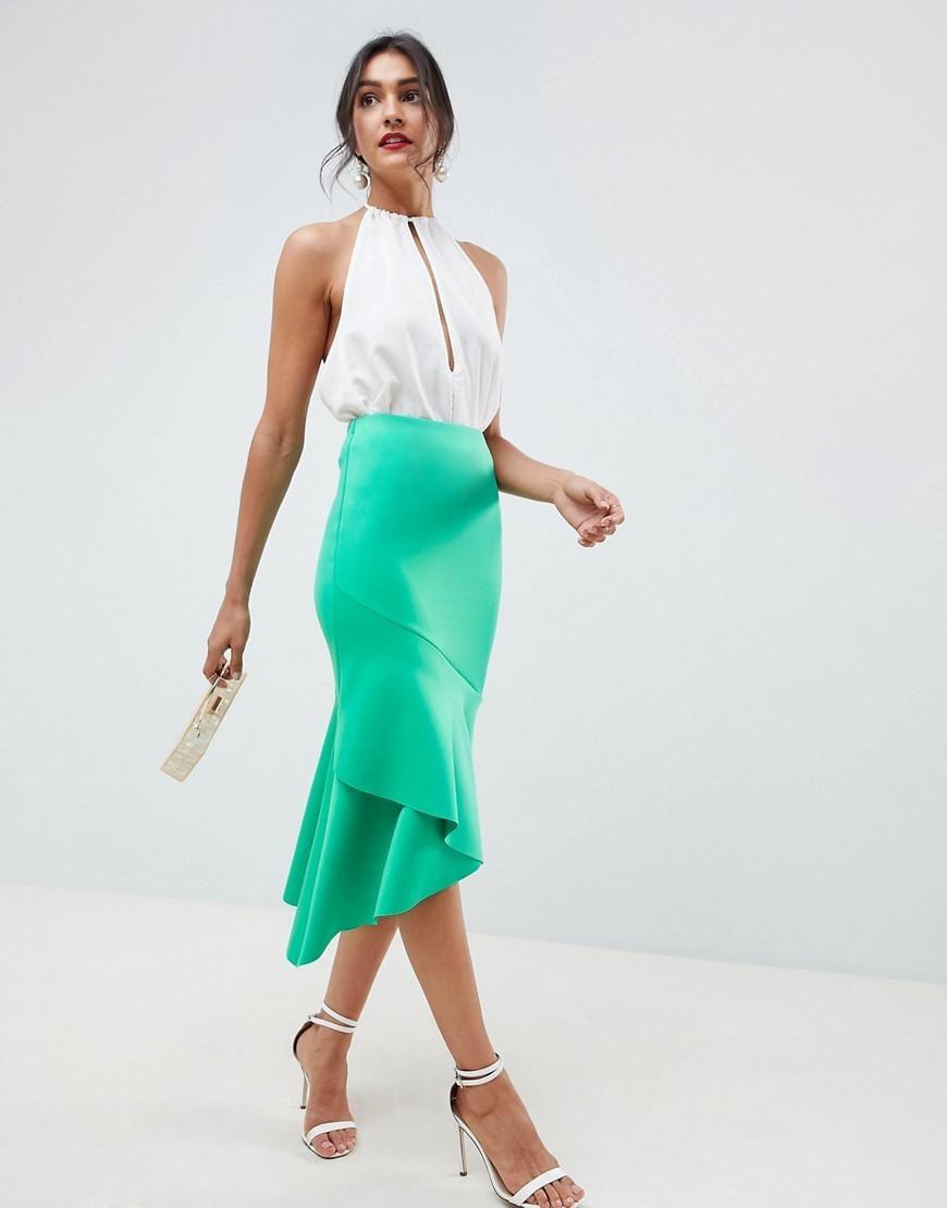 ab279b785 Falda midi de tubo en neopreno con detalle de volantes de mujer de color  verde