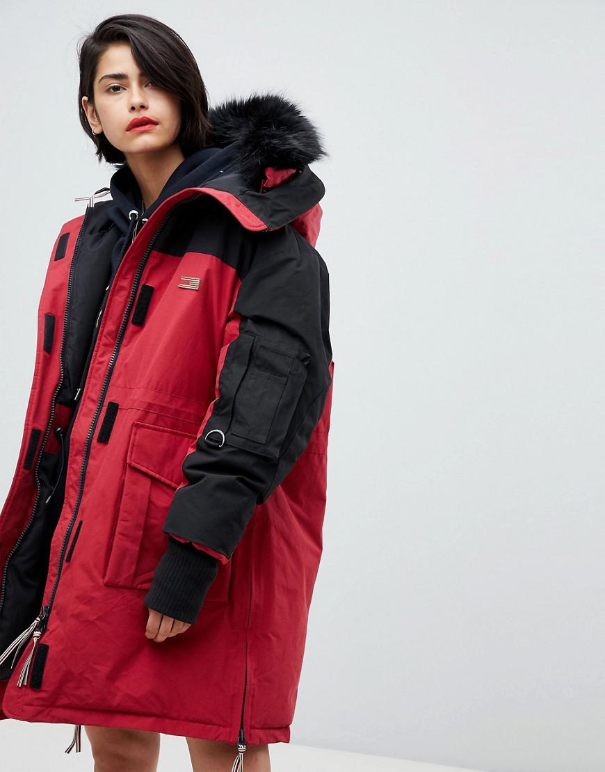 ada35b5a Tommy Hilfiger Icon Color Block Parka in Red - Lyst