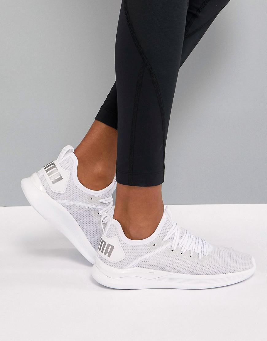 bd537b5e03b9a5 PUMA Running Ignite Flash Evoknit Trainers In White in White - Lyst