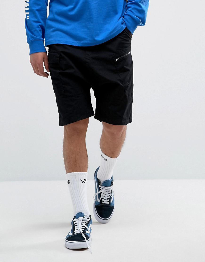 38d4ebfd232fa7 Bershka Drop Crotch Skater Shorts In Black in Black for Men - Lyst