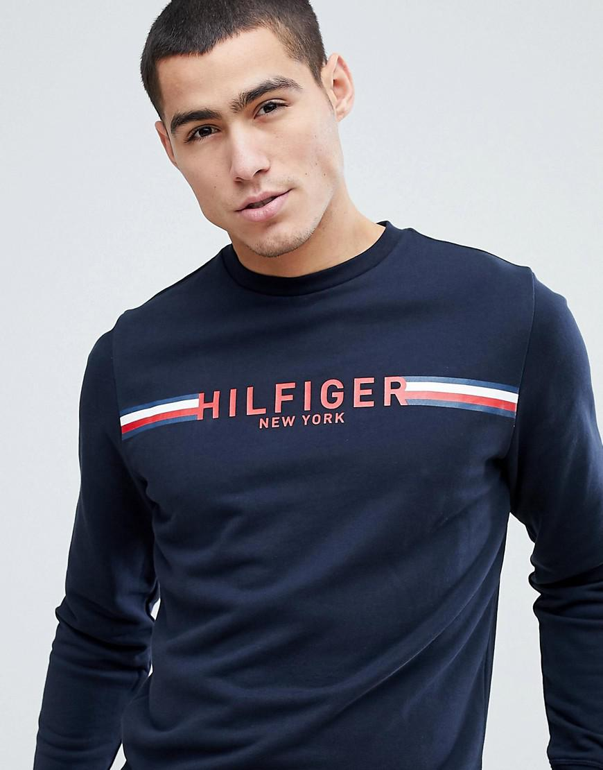 a587f7bb Tommy Hilfiger Koby Icon Stripe Logo Sweatshirt In Navy in Blue for ...