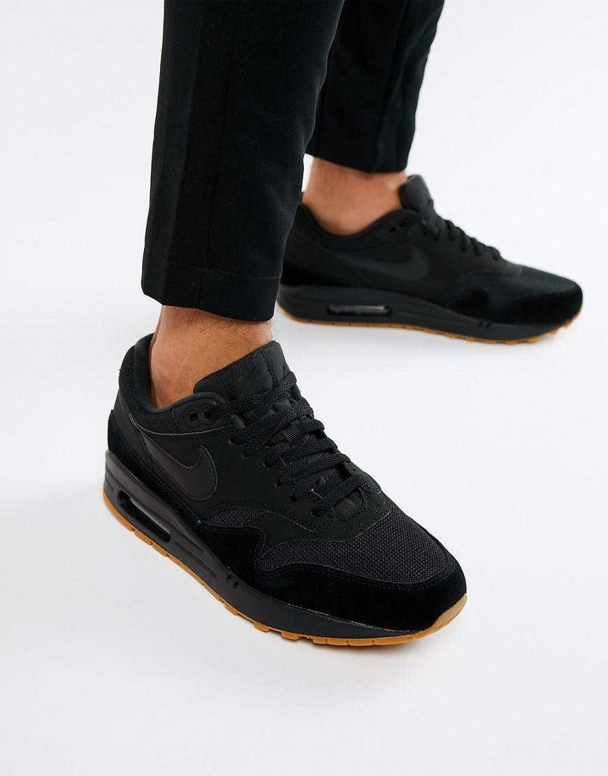 Nike Leather Air Max 1 Trainers In Black Ah8145 007 for Men