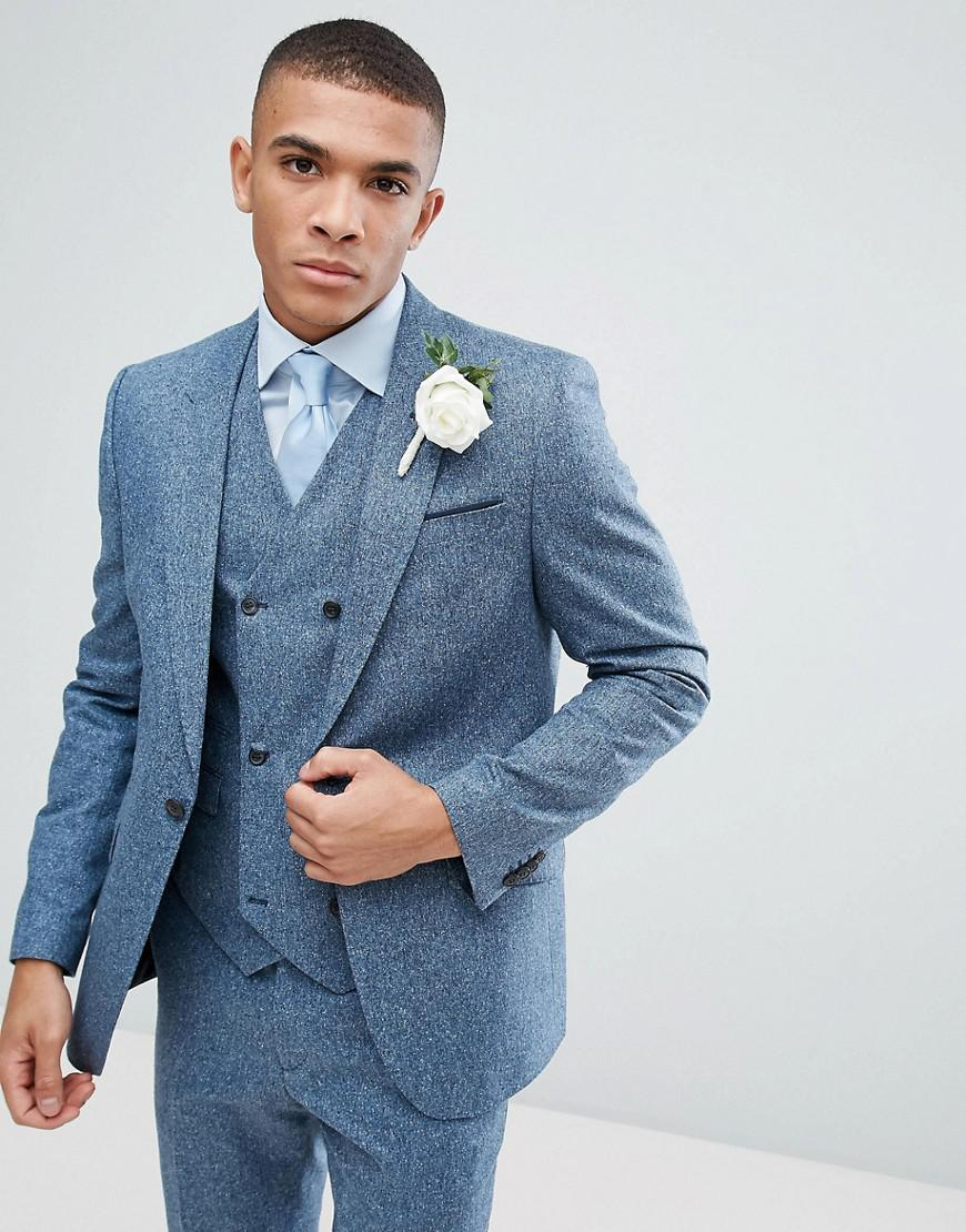 Lyst - Asos Wedding Slim Suit Jacket In 100% Silk Textured Blue in ...
