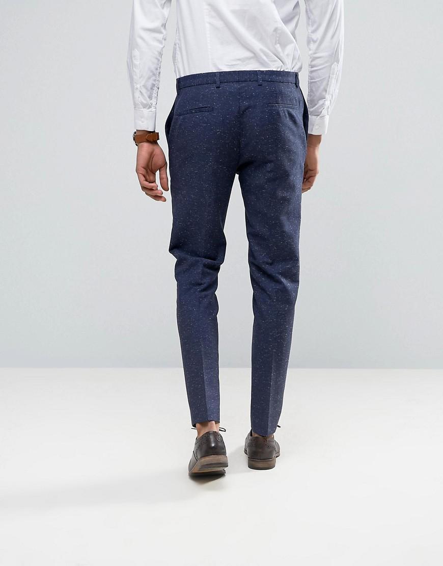 Noak Skinny Wedding Suit Pants In Linen Nepp in Navy (Blue) for Men