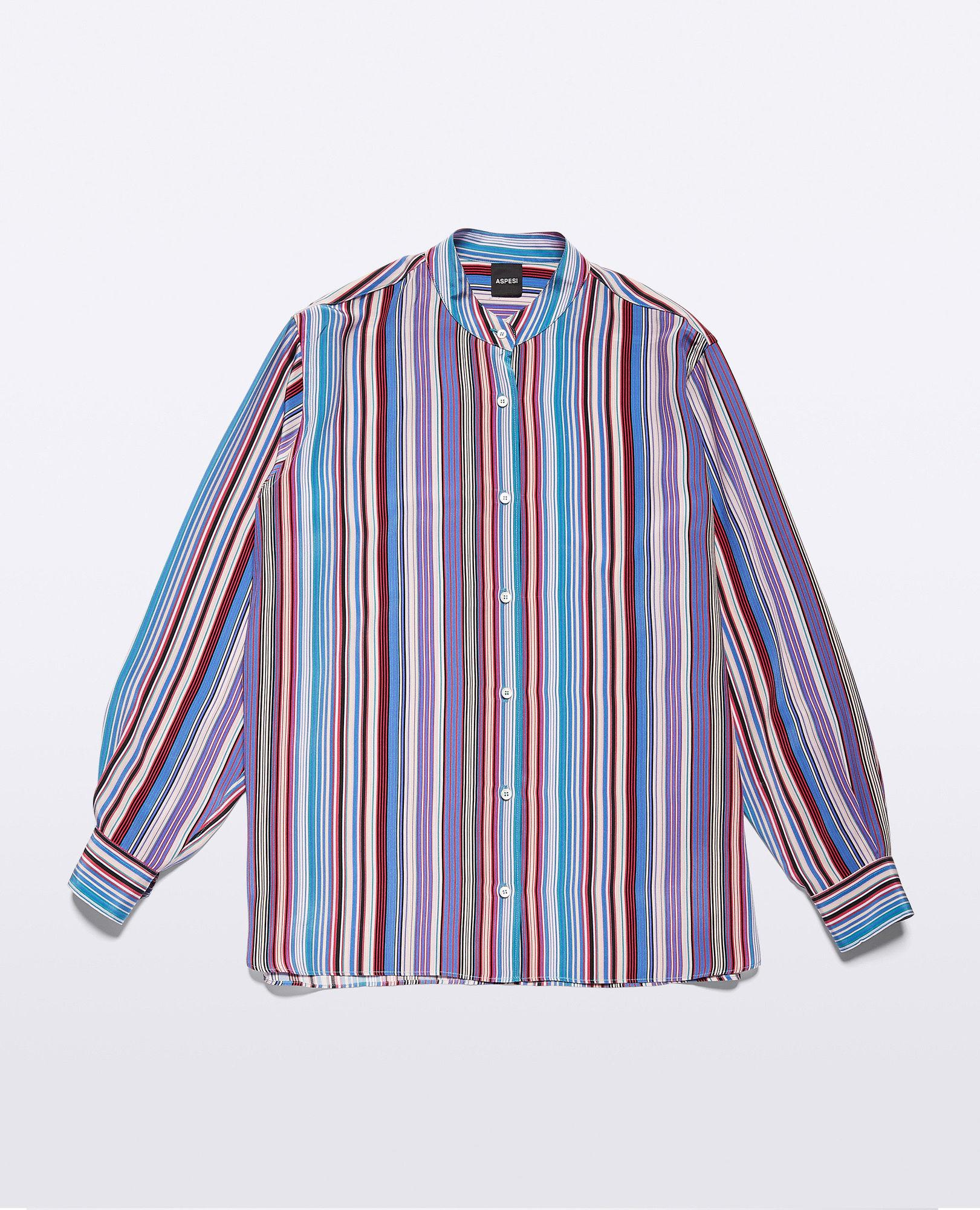 4c86b472d301b Lyst - Aspesi Printed Silk Shirt Guru Neck in Blue