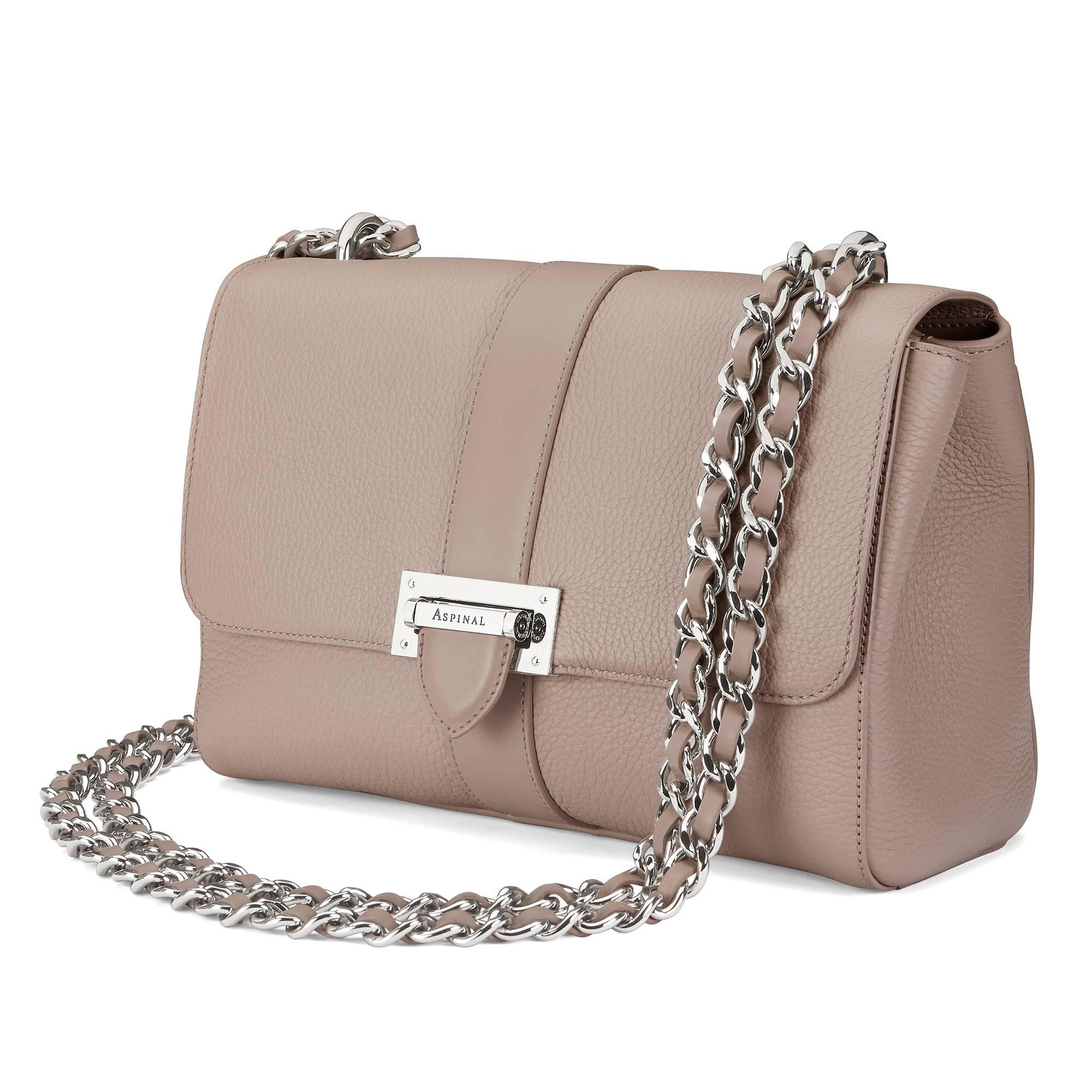 Aspinal - Brown Large Lottie Bag In Soft Taupe Pebble - Lyst. View  fullscreen 1191cf9fbf