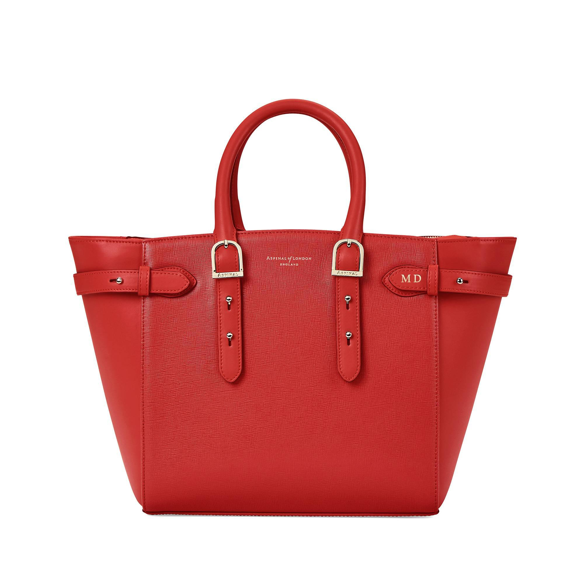 Aspinal of London Leather The Midi Marylebone Tech Tote in Scarlet (Red)