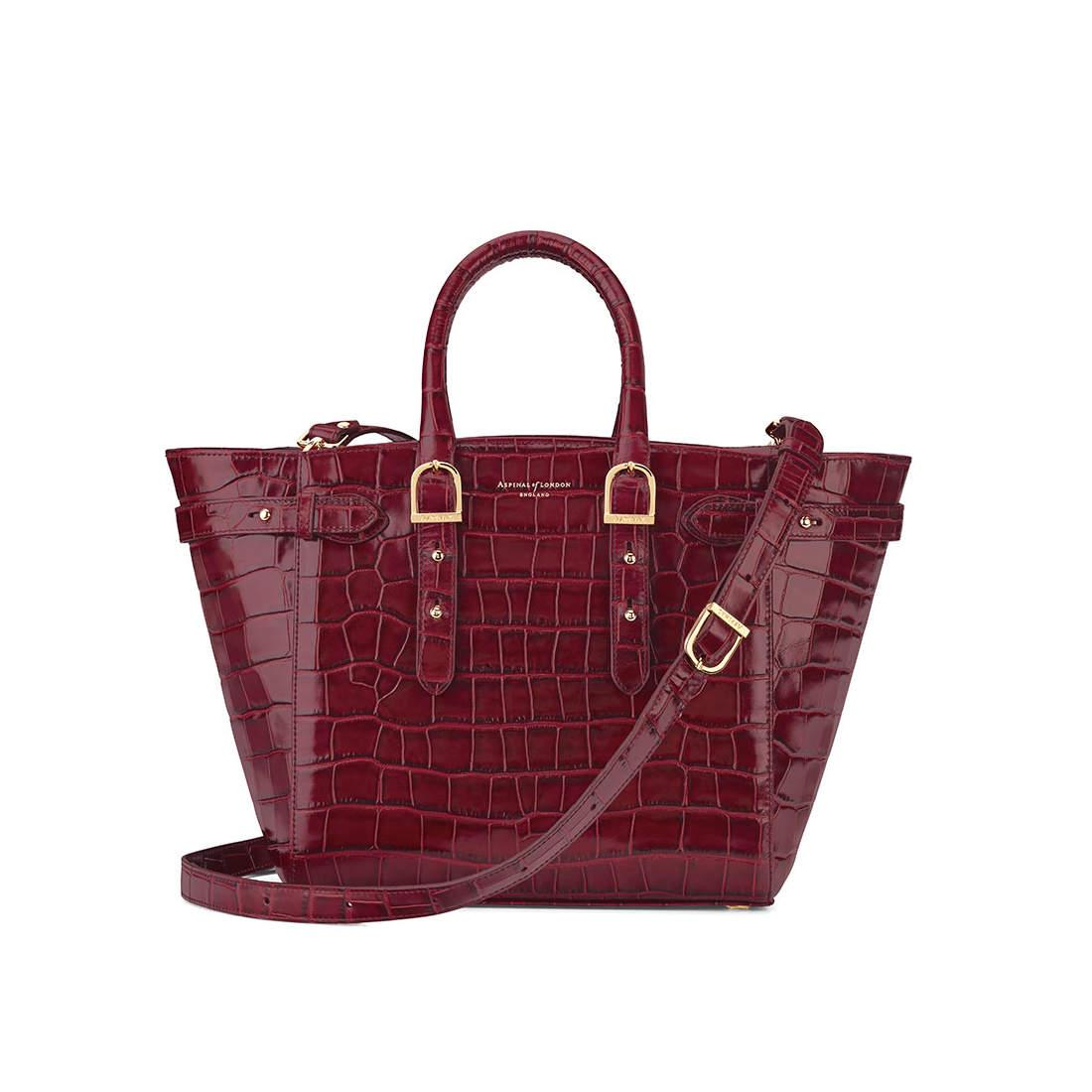 Aspinal of London Leather Marylebone Medium Tote in Bordeaux Croc (Red)