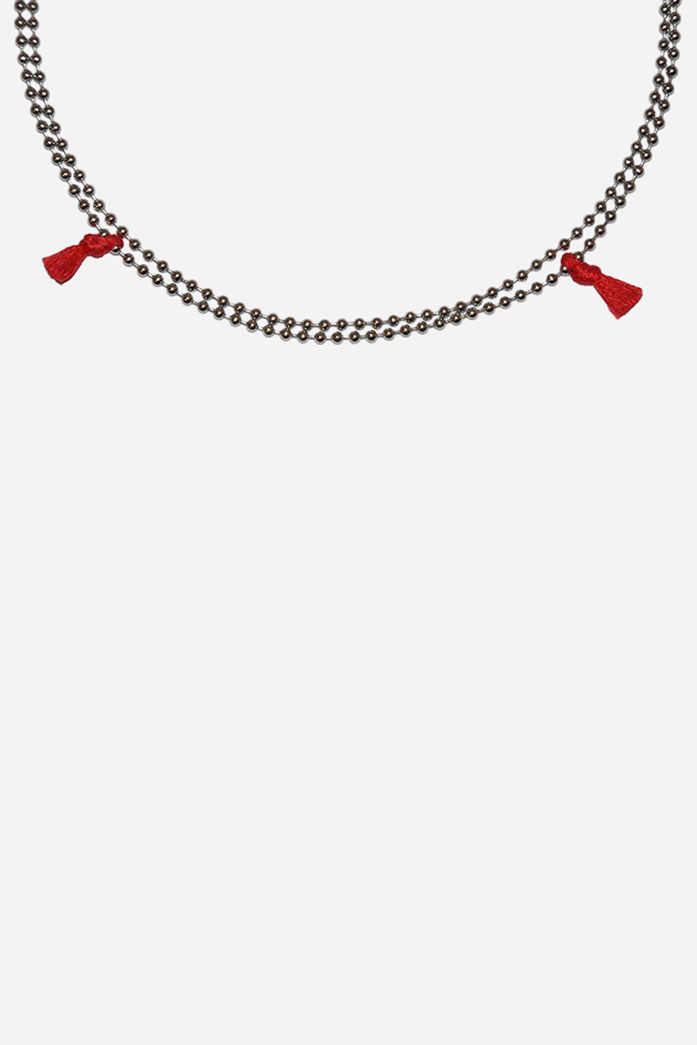 Nikolai Rose Silk Stainless Steel Mantra Iv Necklace