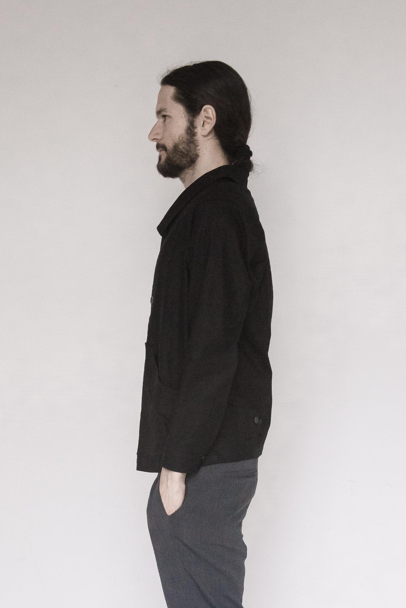 David Michael Linen Revolutionary Jacket in Black for Men