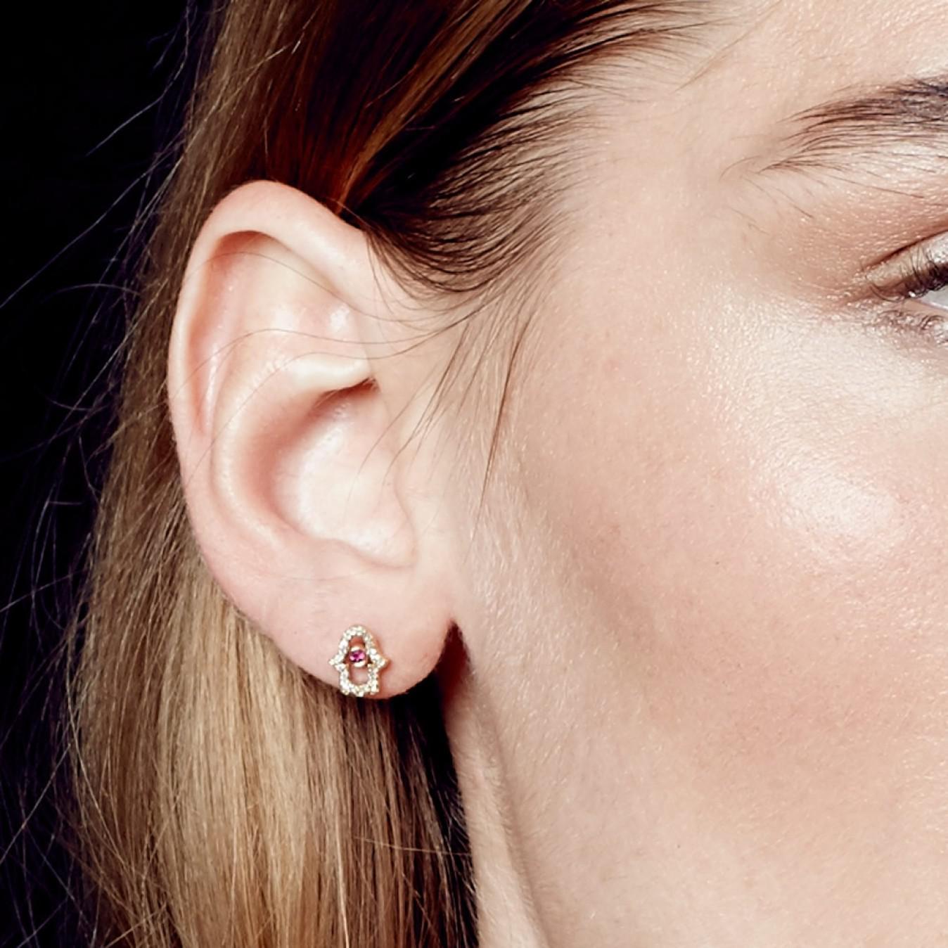 Astley Clarke Hamsa Fine Biography Ruby Single Stud Earring in Red