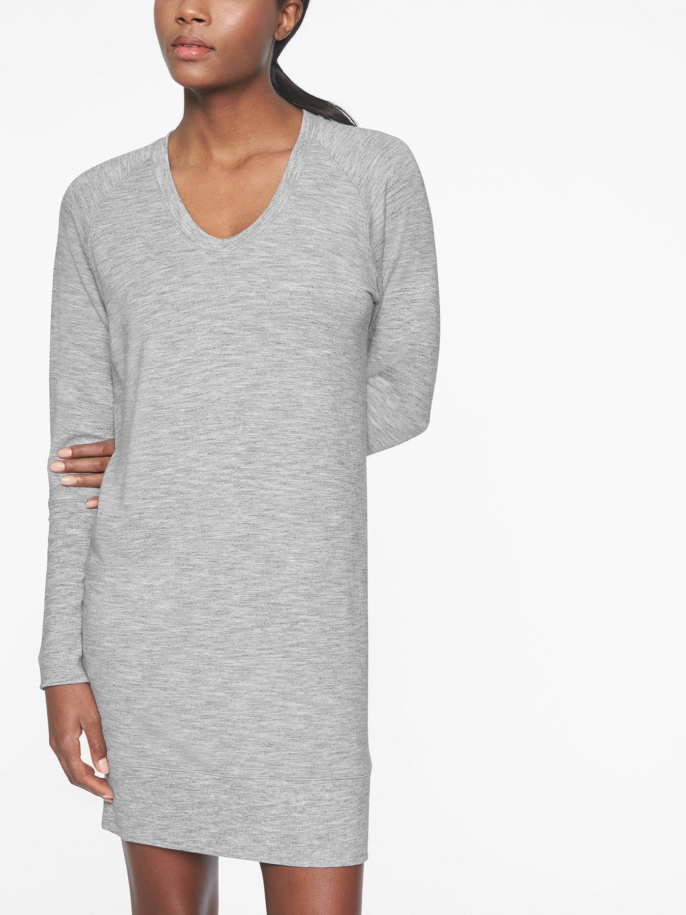 3966ec4193d Lyst - Athleta Nirvana V-neck Sweatshirt Dress in Gray