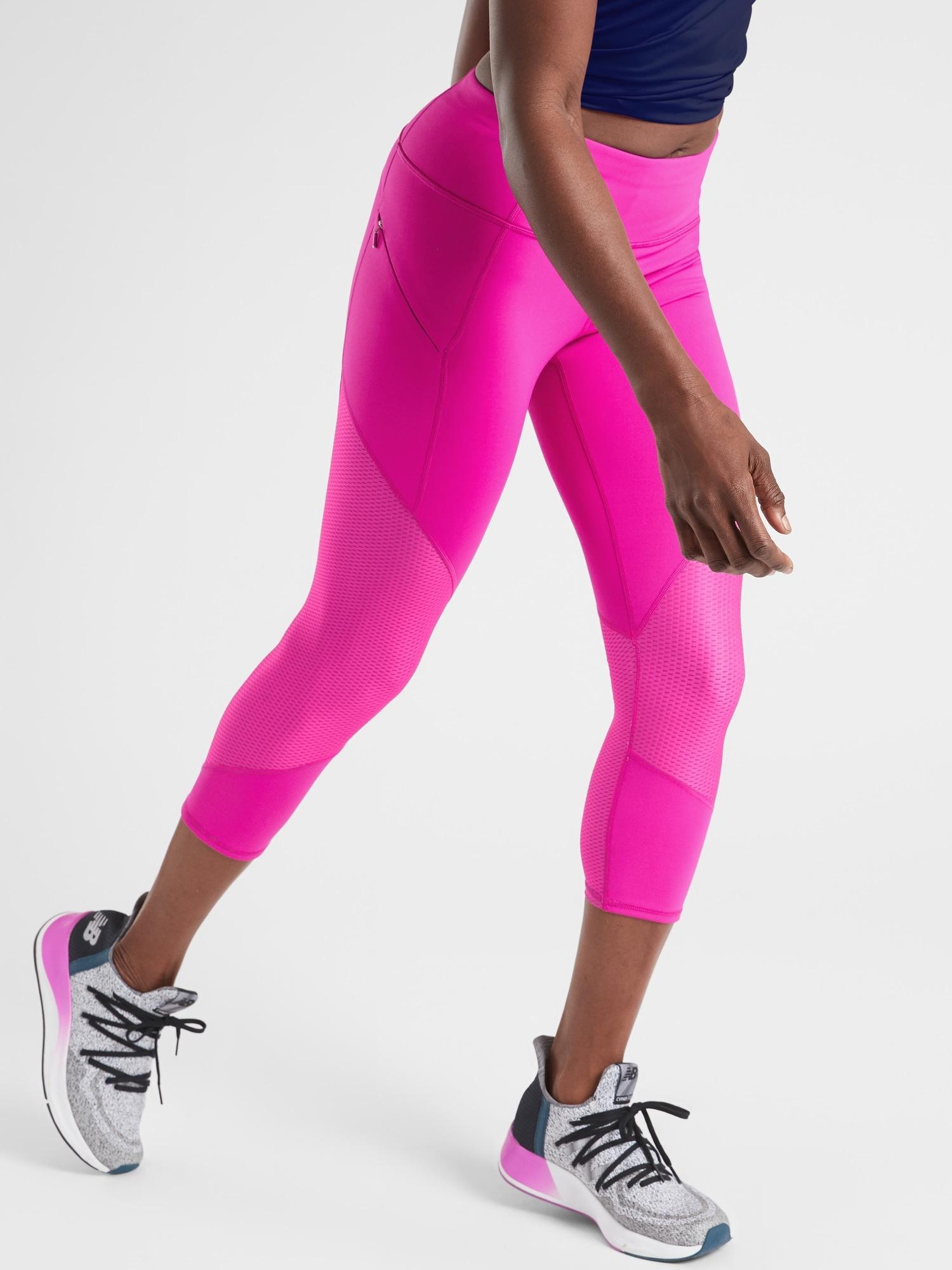 ec0fabe0122c40 Lyst - Athleta Mesh Contender Capri In Powerlift in Pink