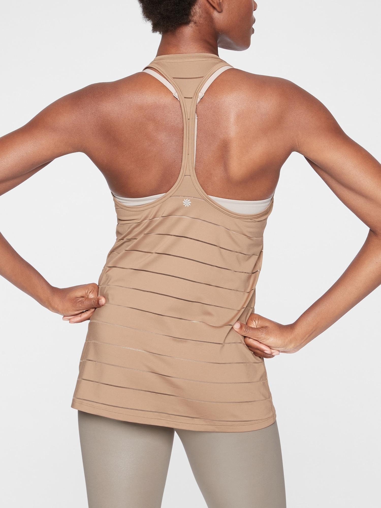 dfd01f6bfd Lyst - Athleta Stripe Mesh High Neck Chi Tank in Natural