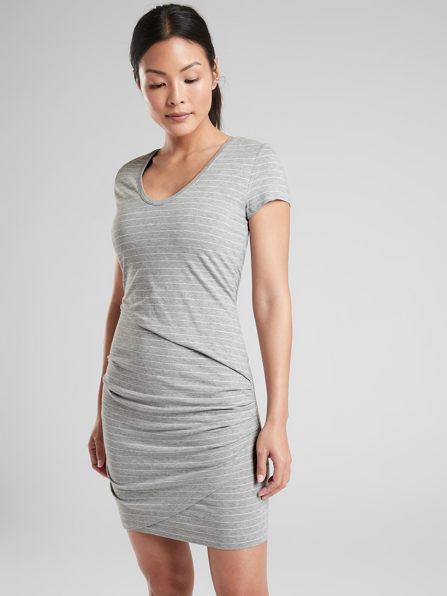 248def1a14f Athleta - Gray Central Stripe Dress - Lyst. View fullscreen