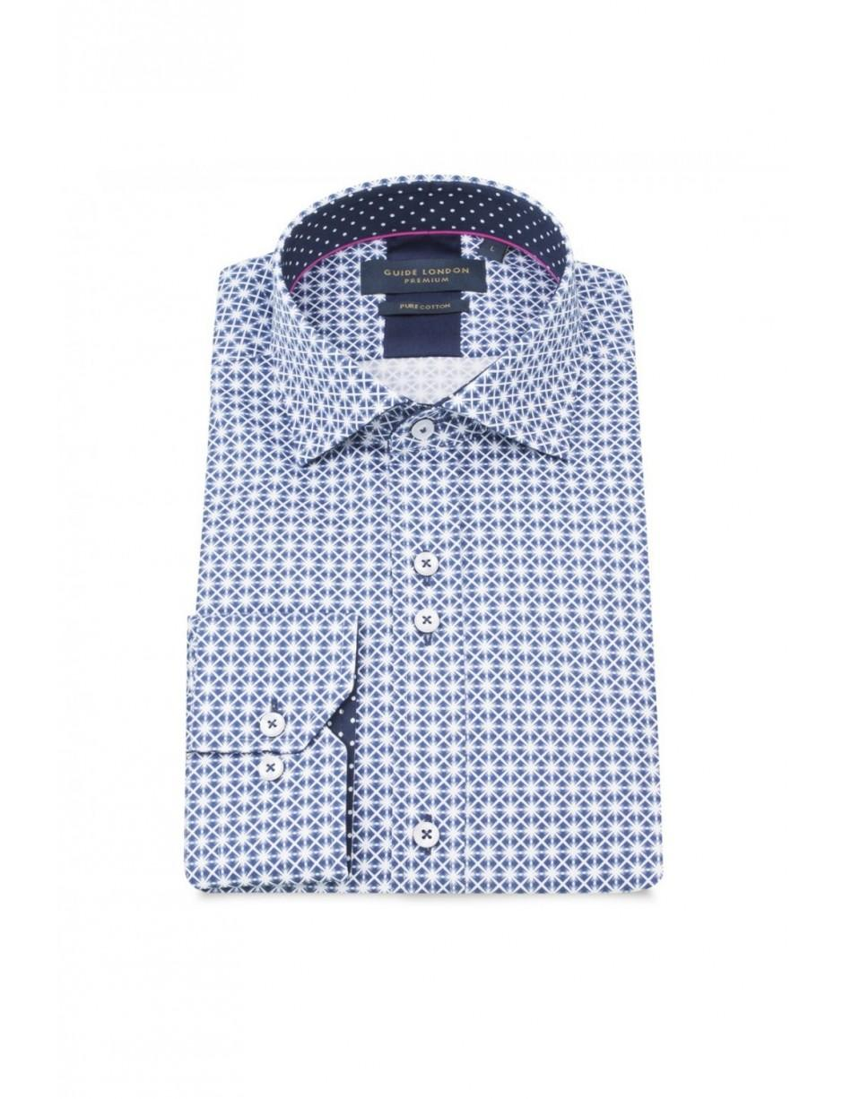 d69653a86402 Guide London Men's Ls.75017 Geometric Print Shirt In Blue in Blue ...