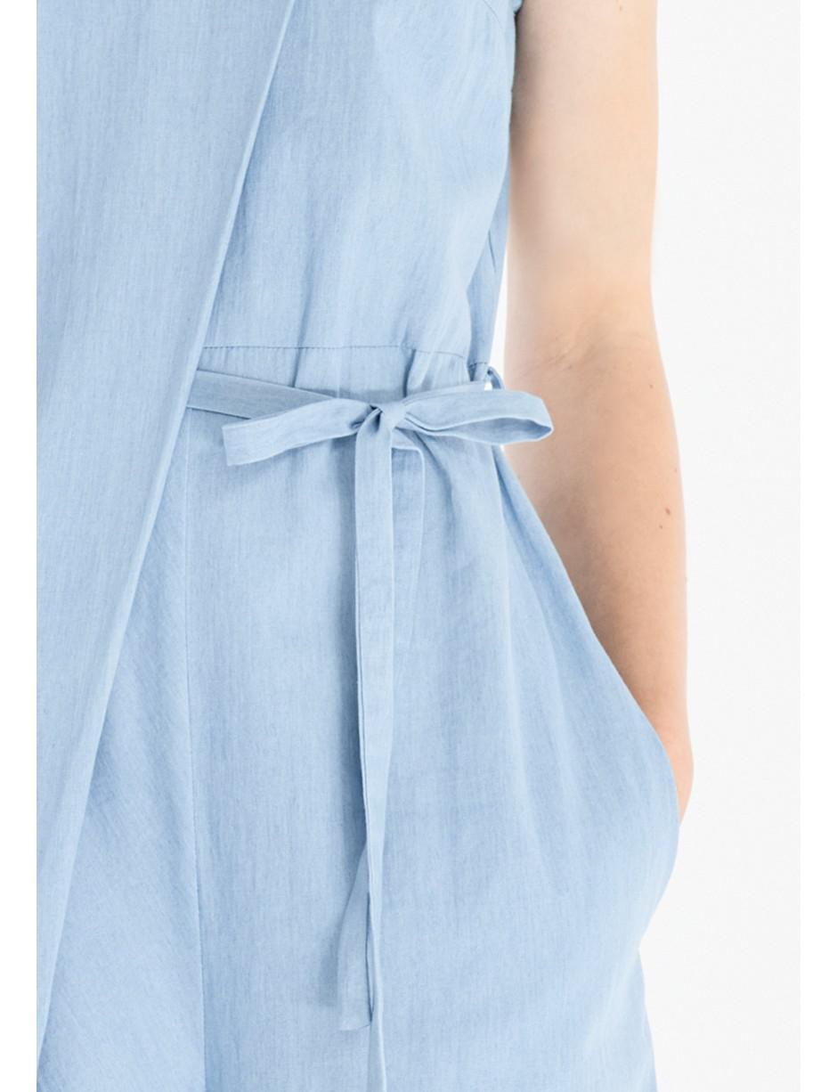 59089fd8e30a Lyst - Paisie Denim Jumpsuit With Front Overlay And Side Tie (with ...