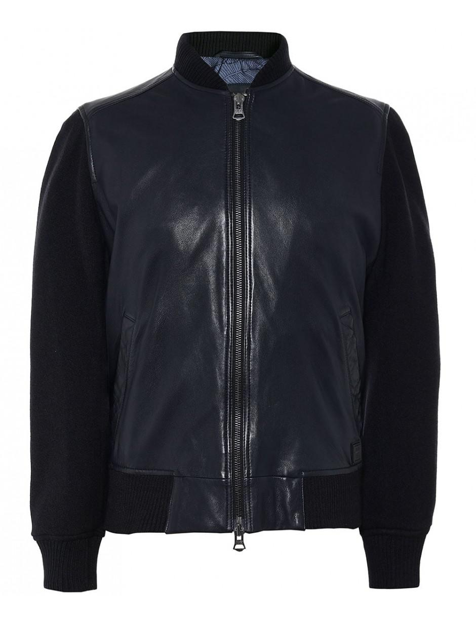 cc185cbbe95 Lyst - BOSS Leather Jayger Bomber Jacket in Blue for Men