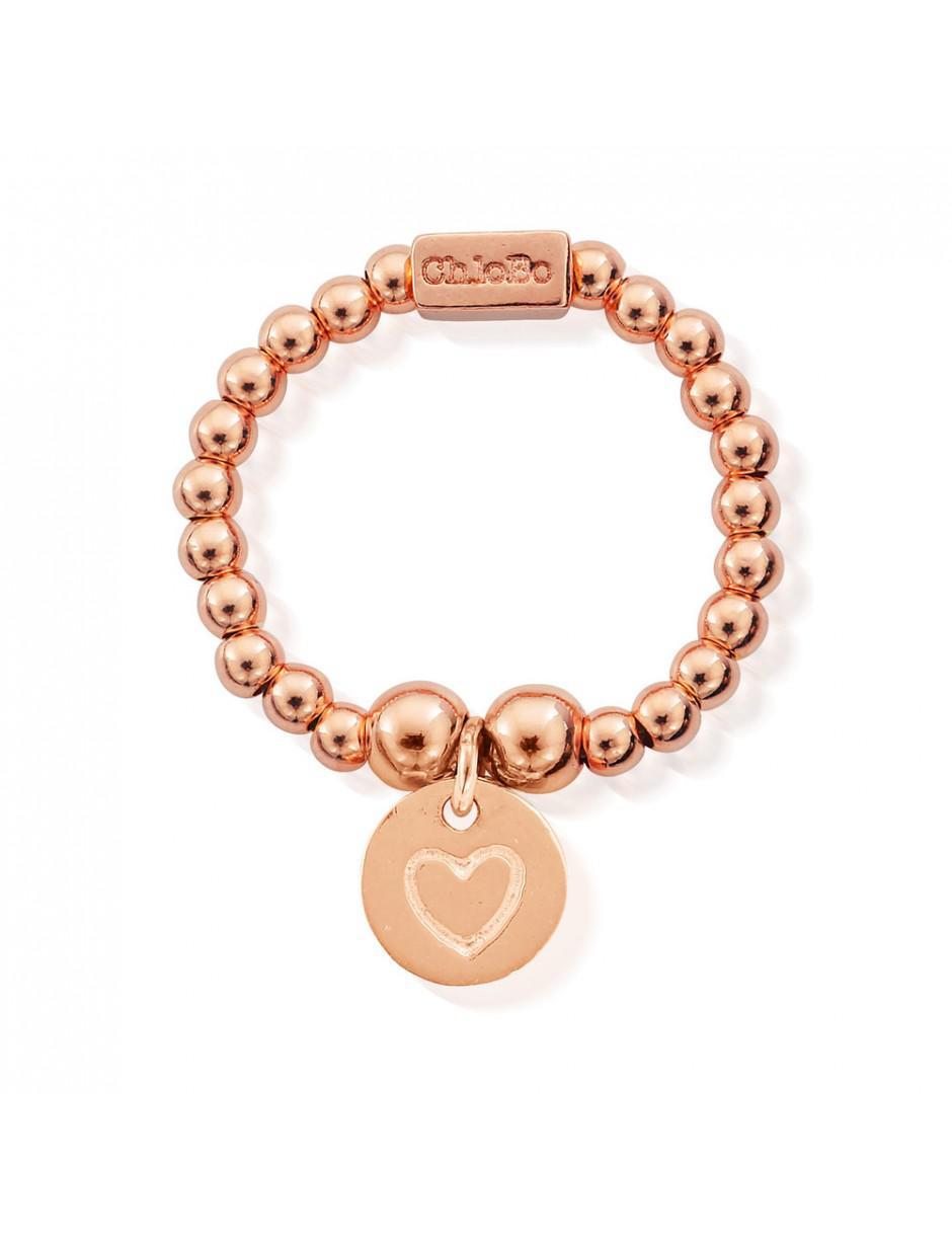 ChloBo Mini Ball Ring With Heart In Circle in Gold (Metallic)