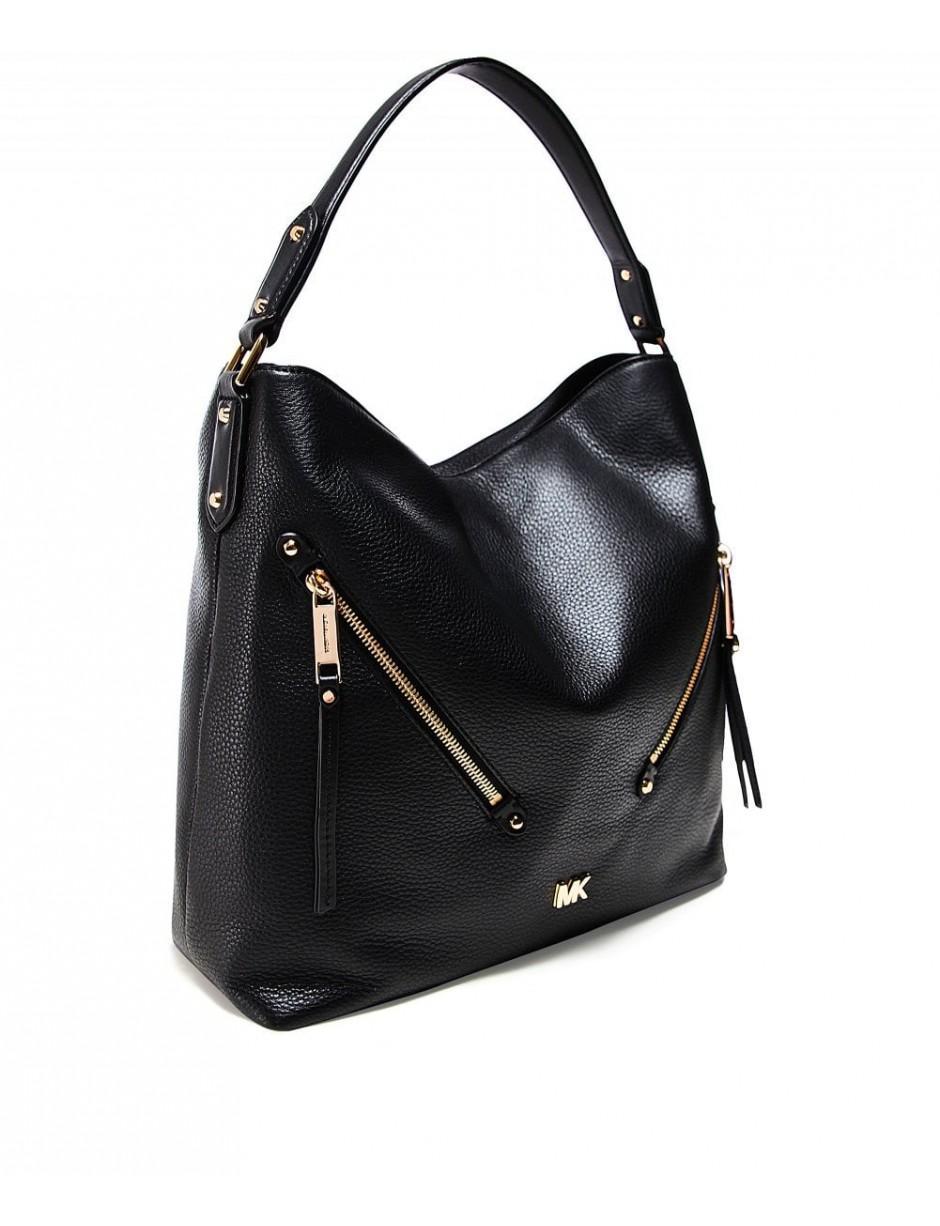 71cfdb9e31f5 MICHAEL Michael Kors. Women's Black Evie Large Pebbled Leather Shoulder Bag