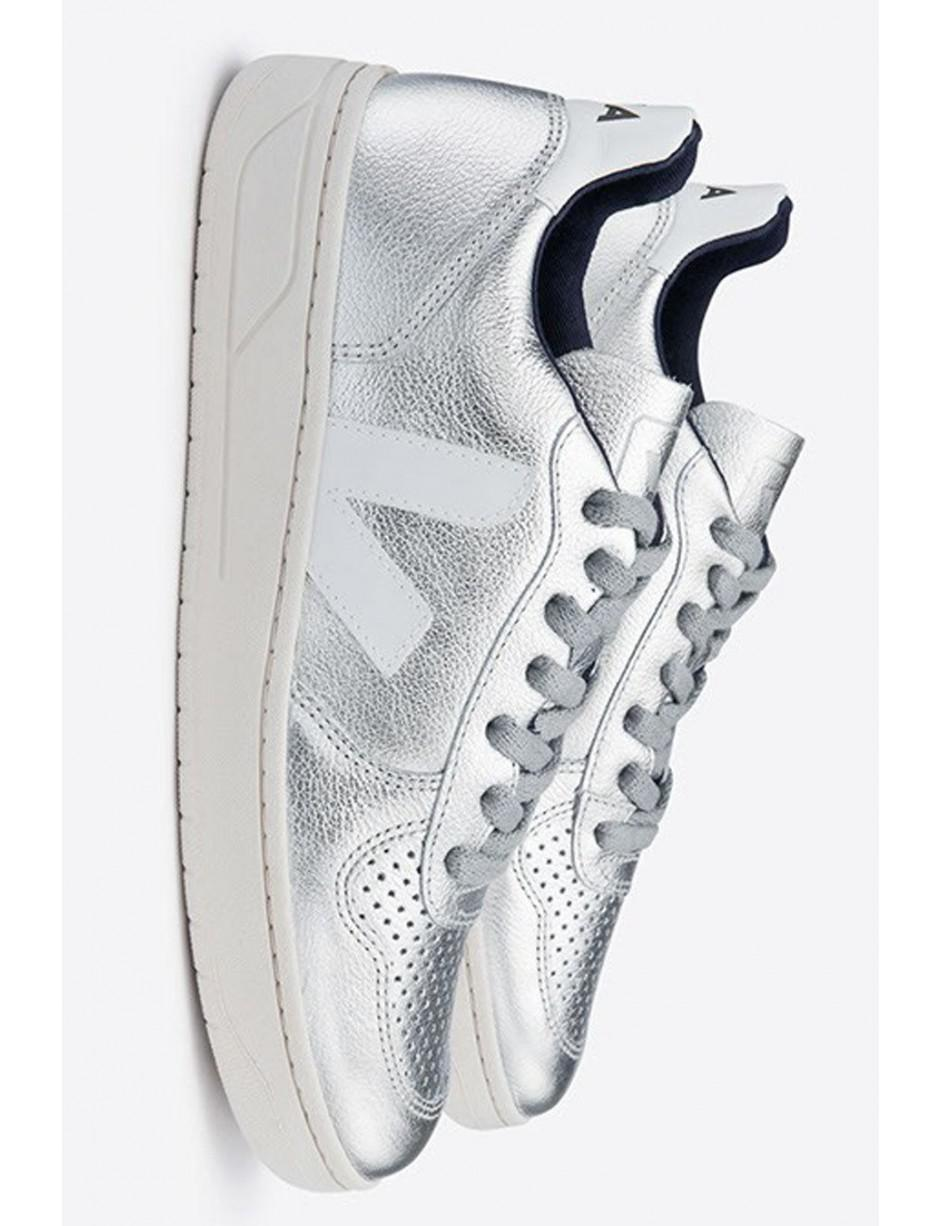 Veja V10 Silver Leather Trainers in