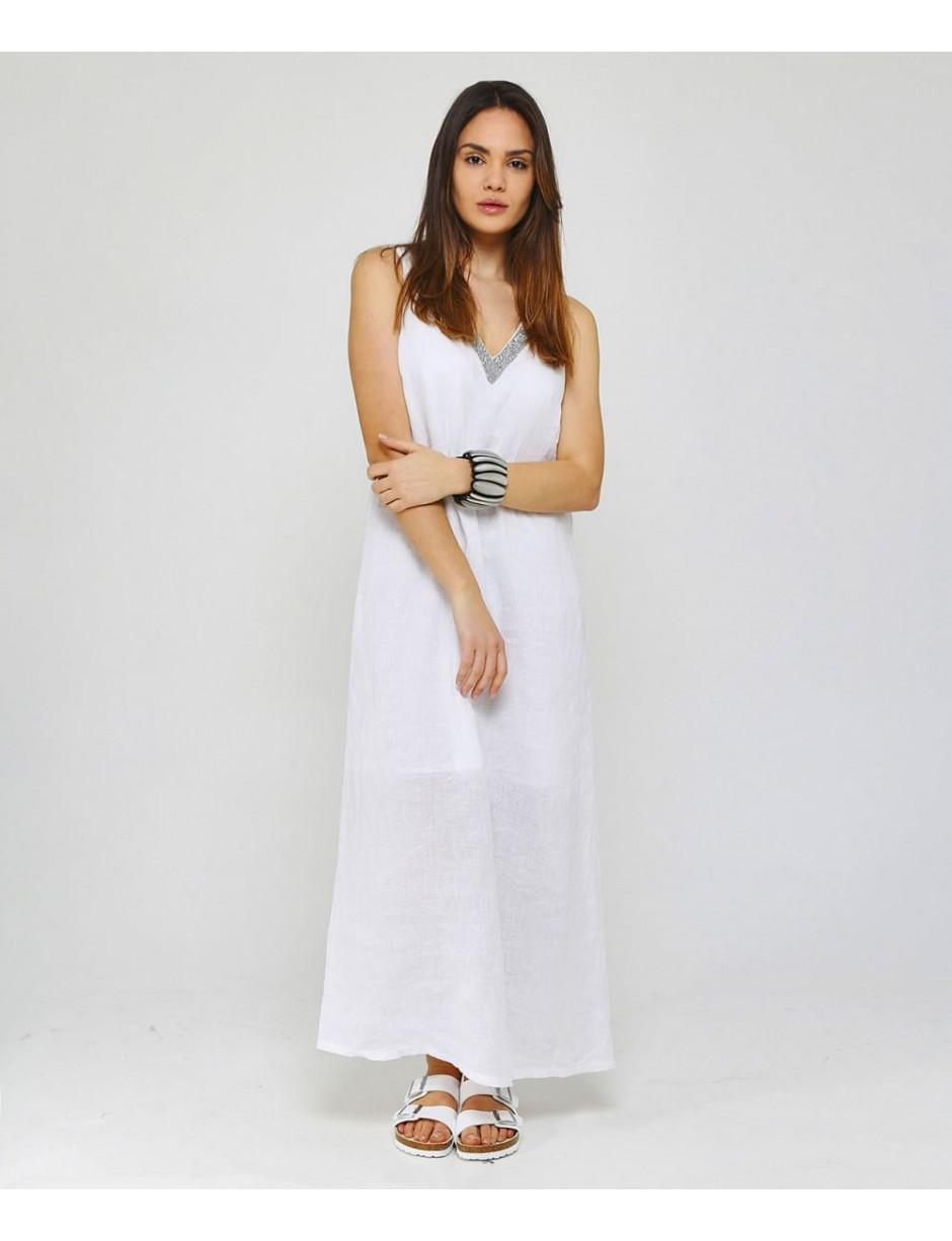 84fe4b38e5 Lyst - 120% Lino 120% Lino Beaded V-neck Maxi Dress in White