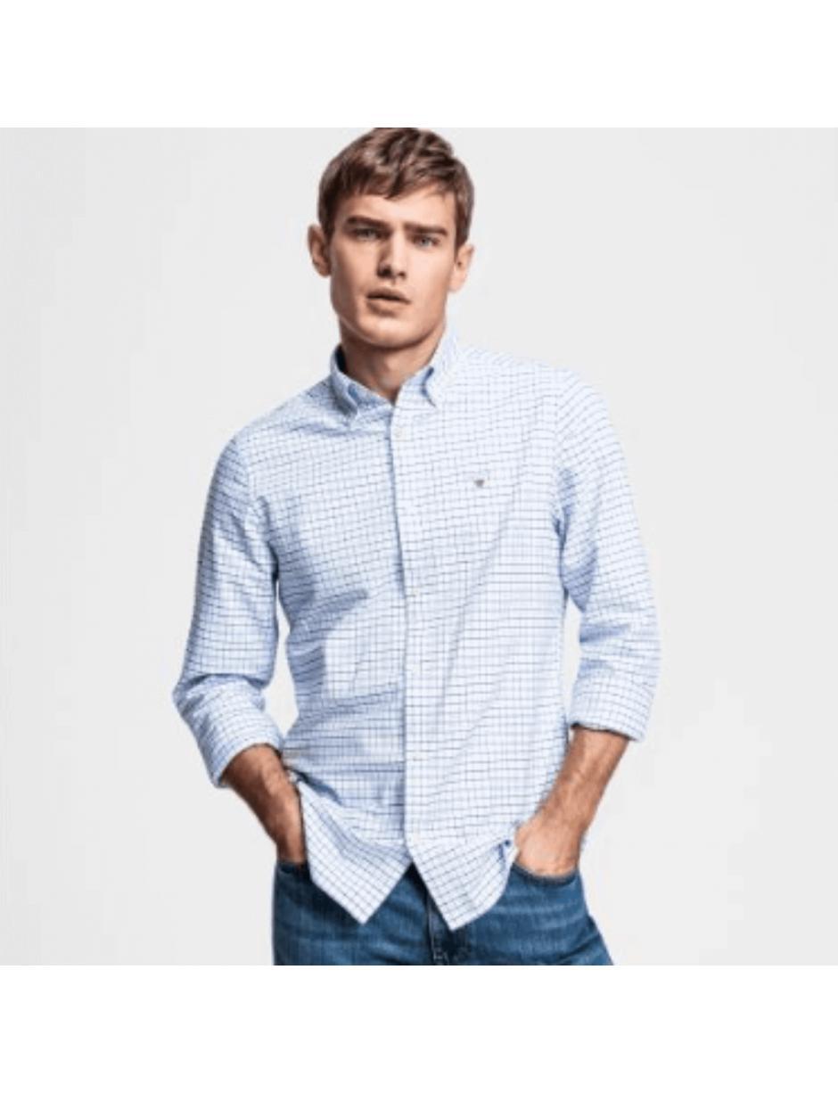 1a5b7198483 Gant Herringbone Pattern Shirt Blue in Blue for Men - Lyst