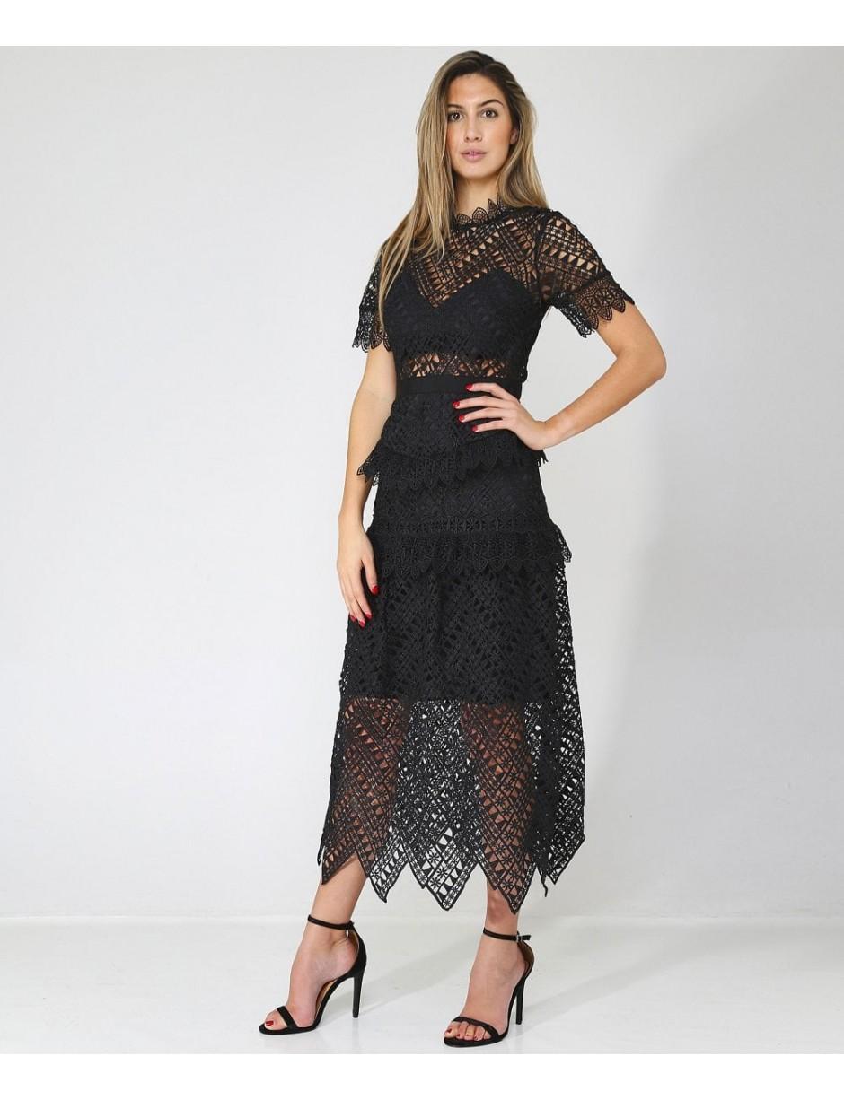 6c78523f060 Self-Portrait Abstract Triangle Lace Black Midi Dress in Black - Lyst