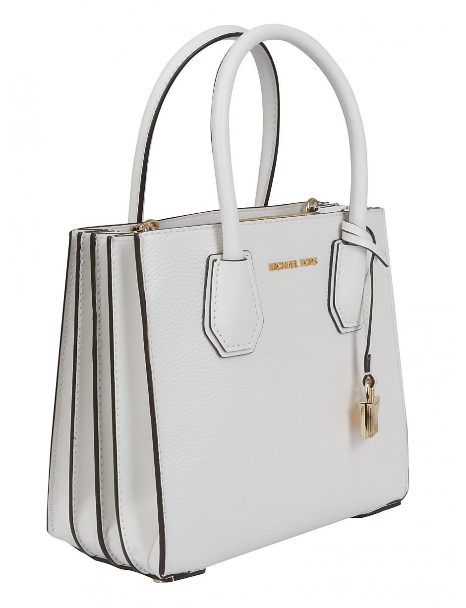 lyst michael michael kors mercer small white bag in white save 15. Black Bedroom Furniture Sets. Home Design Ideas