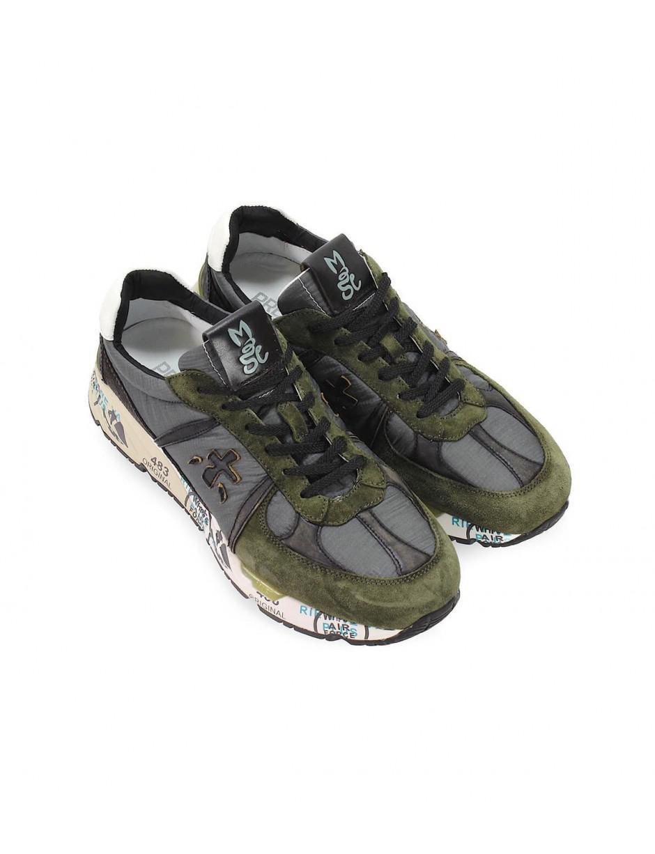 Premiata Mens Mase3555 Green Suede Sneakers