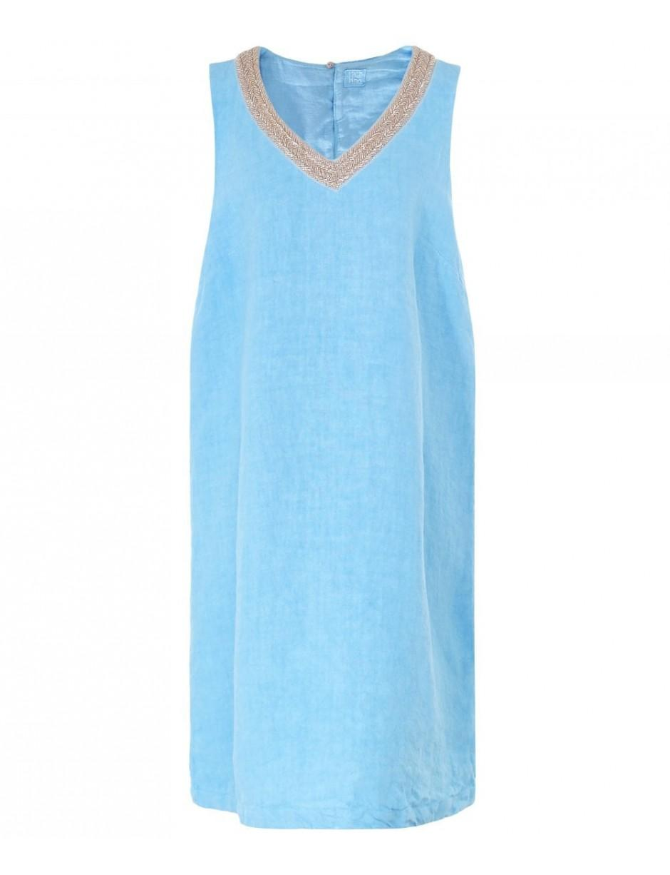 d140272709 120% Lino 120% Lino Linen Beaded V Neck Dress in Blue - Lyst