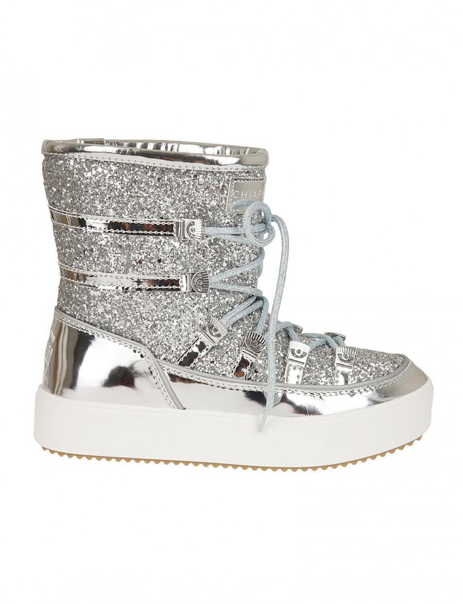 Chiara Ferragni Eyes Flirting Silver Snow Boots Women's Snow Boots In Silver in Metallic