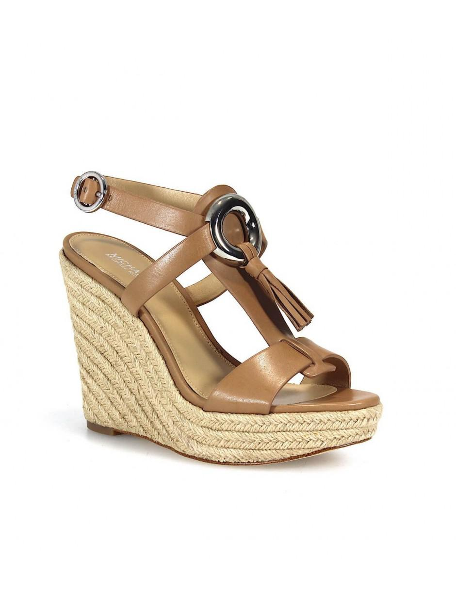 68985a4eec32f MICHAEL Michael Kors. Women s Brown Michael Kors Darien Wedge Cashew Sandal  40.5