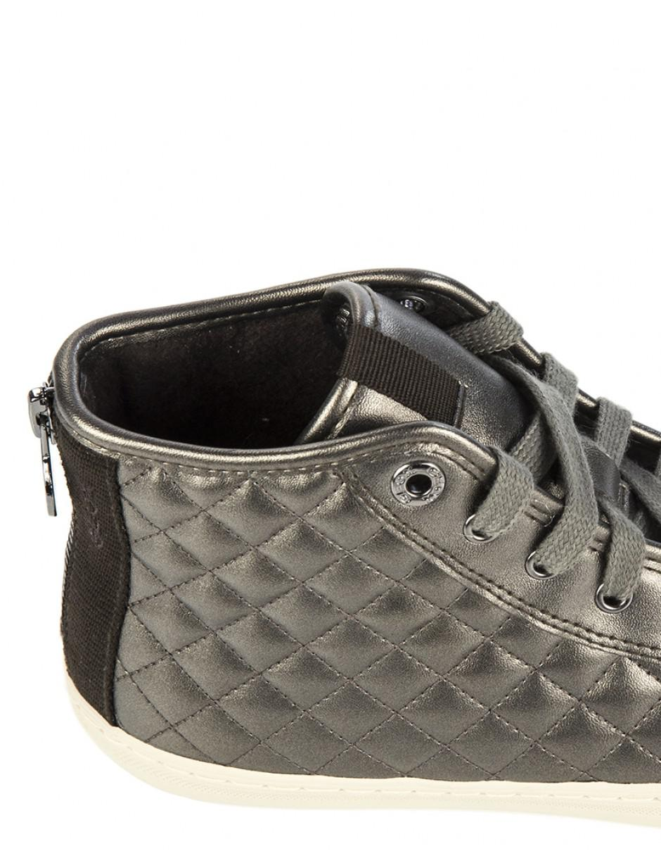 a3742ffe84 Geox Women's New Club High-top Quilted Trainers in Gray - Lyst